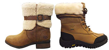 The boot collection from Uggs includes designs that include leather and rubber sole bottoms, available at all our locations.